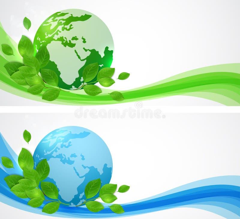 Fahnen mit Planet Erde lizenzfreie abbildung