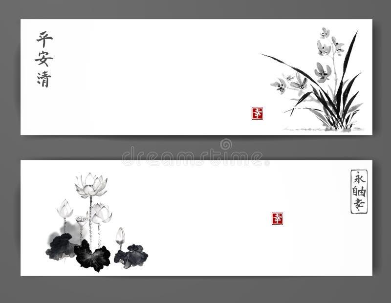 Fahnen mit wilden Orchideen- und Lotosblumen auf weißem Hintergrund Traditionelles orientalisches Tintenmalerei sumi-e, Usünde, G vektor abbildung