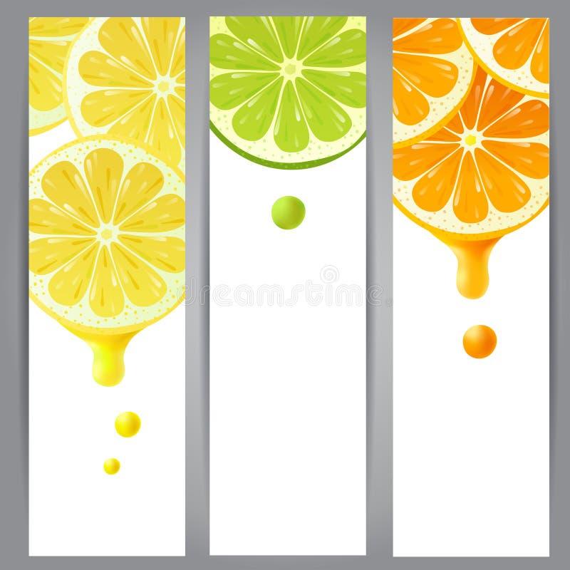 3 Fahnen mit Zitrone, Kalk und Orange stock abbildung