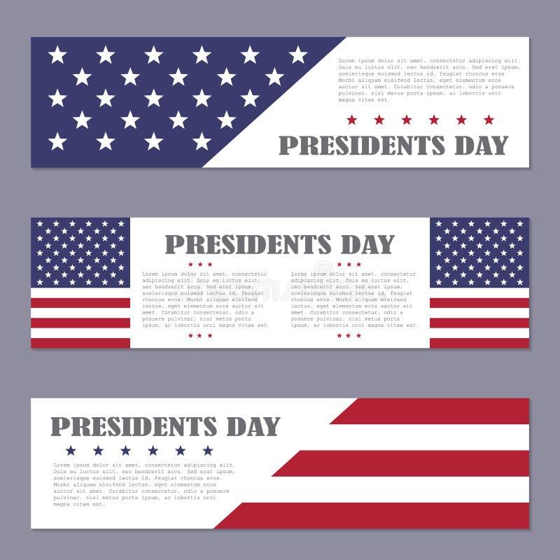 Fahnen Präsidenten Day auf einem dunklen Hintergrund lizenzfreie abbildung