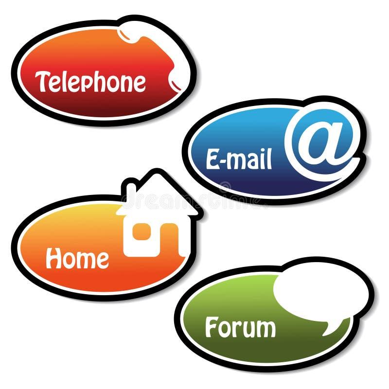 Fahnen - Telefon, eMail, Haus, Forum vektor abbildung