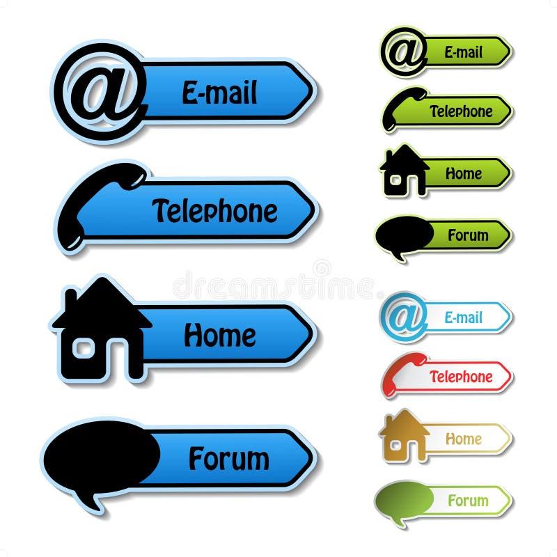 Fahnen - Telefon, eMail, Haus, Forum stock abbildung