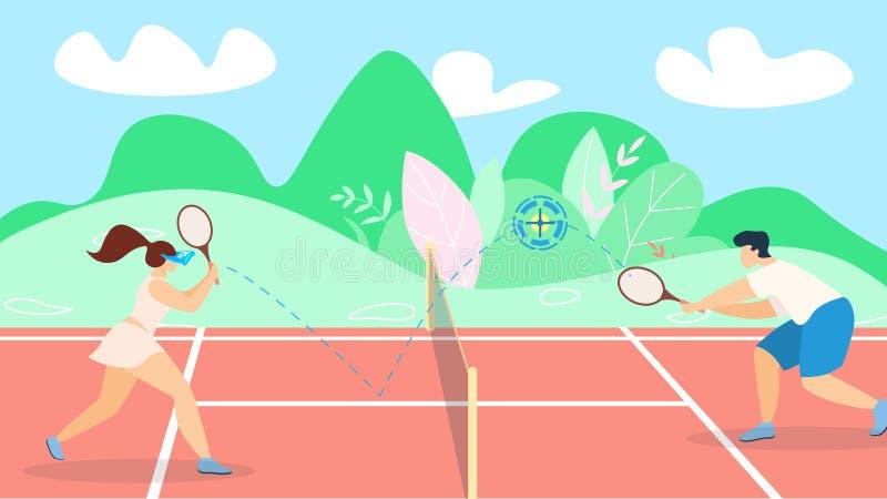 Fahnen-Tennis-Spieleentwicklungs-Strategie-Beschriftung lizenzfreie abbildung