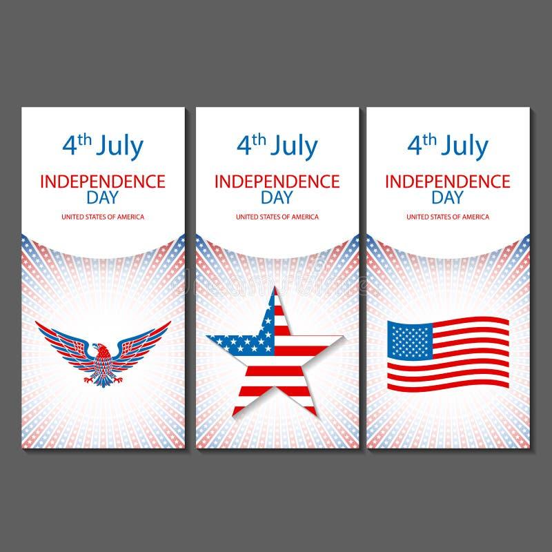 Fahnen vom 4. Juli Hintergründen mit amerikanischer Flagge Skizzen-Designvektor des Unabhängigkeitstags Hand gezeichneter vektor abbildung