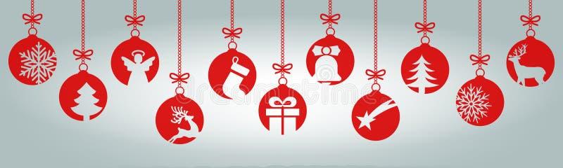 Fahnen von den verschiedenen Weihnachtsbällen Hängende Weihnachtssymbolikonen, frohe Weihnachten, guten Rutsch ins Neue Jahr - Ve stock abbildung