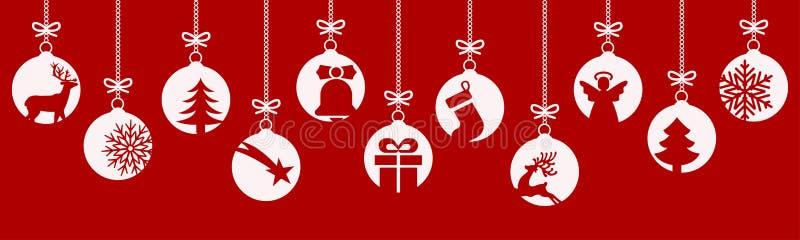 Fahnen von den verschiedenen Weihnachtsbällen Hängende Weihnachtssymbolikonen, frohe Weihnachten, guten Rutsch ins Neue Jahr - fü vektor abbildung