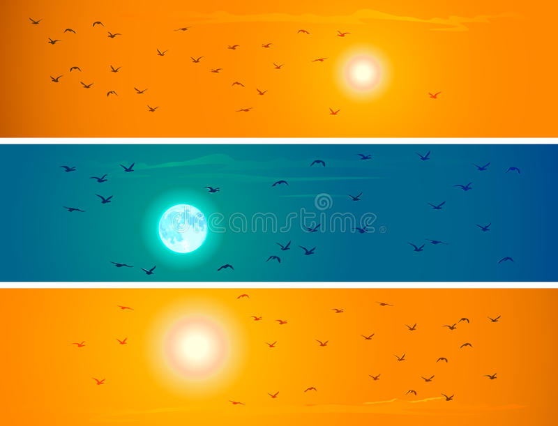 Fahnen von Fliegenvögeln gegen orange Sonnenuntergang und Mond. lizenzfreie abbildung