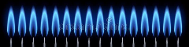 Fahnenbrenner mit Erdgas der Flammen auf schwarzem Hintergrund vektor abbildung