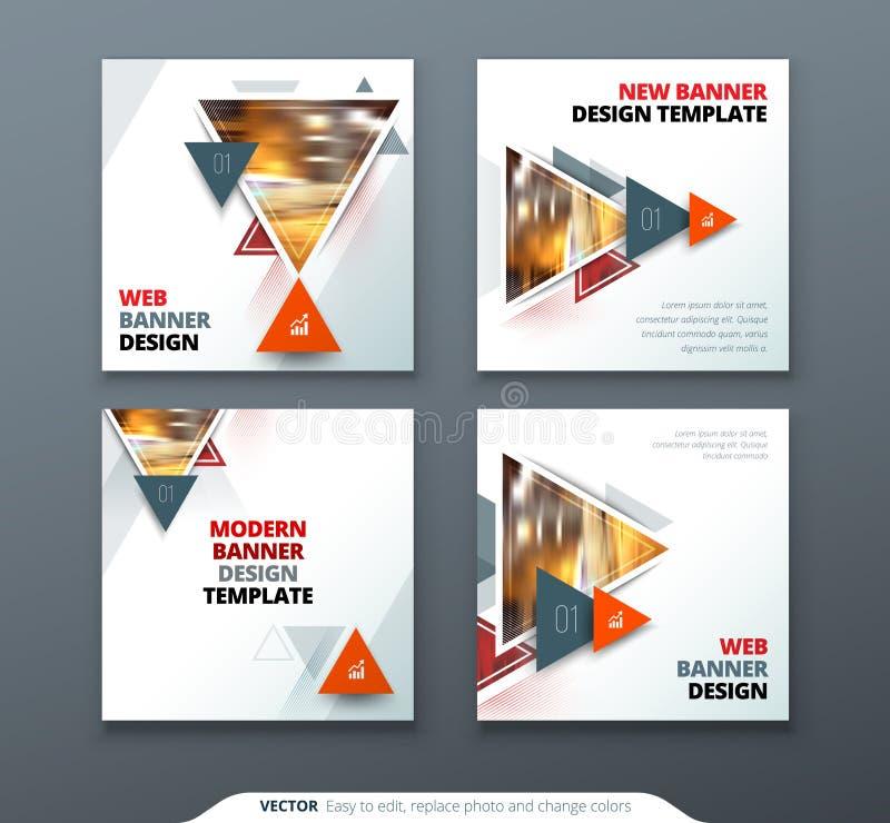 Fahnendesign Quadratische abstrakte Vektorfahne mit Dreieck formt für Netzschablone lizenzfreie abbildung