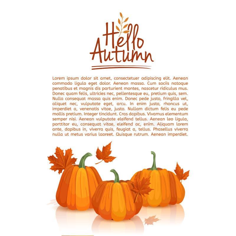 Fahnendesign-Schablonenhallo Herbst Plakatdesign mit dem Dekor von Kürbisen und von Herbstlaub Logo, Ikone, Symbol vektor abbildung