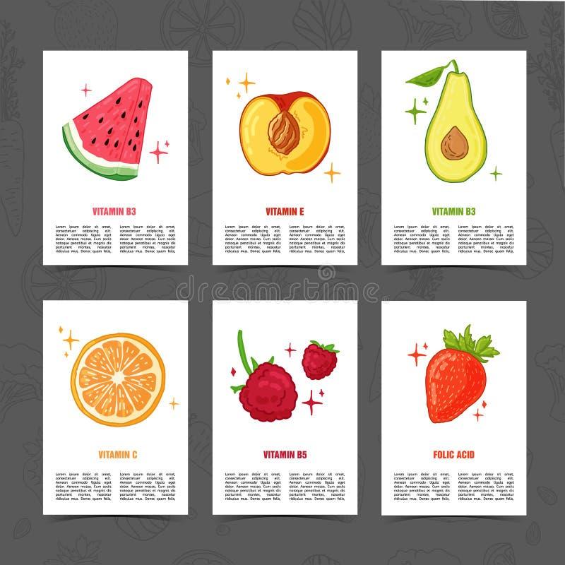 Fahnendesignschablone mit Lebensmitteldekoration Stellen Sie Karte mit dem Dekor der gesunden, saftigen Frucht ein Menüschablone  stock abbildung
