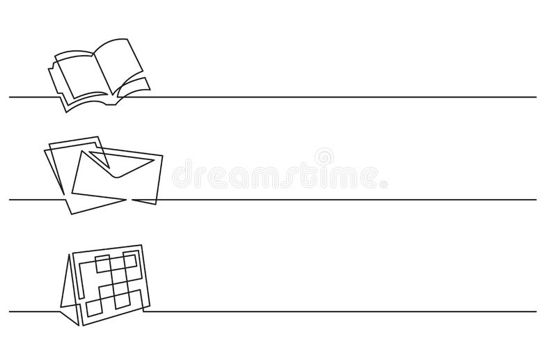 Fahnenentwurf - ununterbrochenes Federzeichnung von Geschäftsikonen: Organisator, Buchstabe, Kalender lizenzfreie abbildung