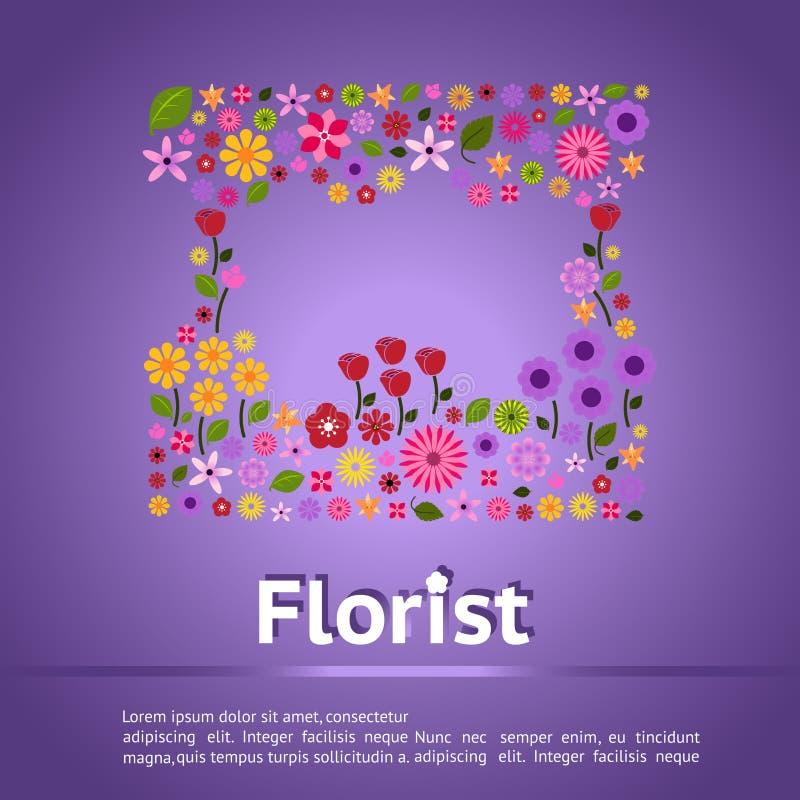 Fahnenhintergrundschablonen-Plan desig des Blumengeschäfts infographic stock abbildung