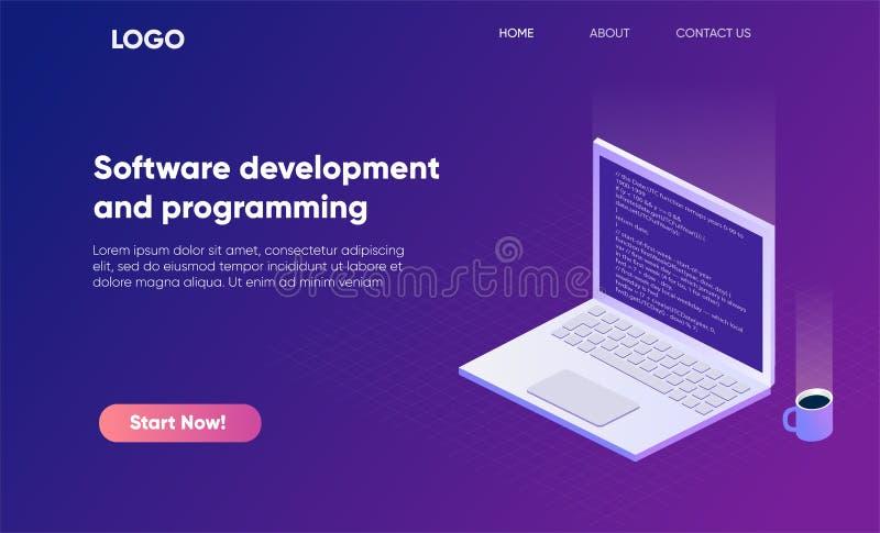 Fahnenillustration der Softwareentwicklung und der Programmierung isometrische Programmieren Sie Code auf Laptopschirm, große Dat lizenzfreie abbildung