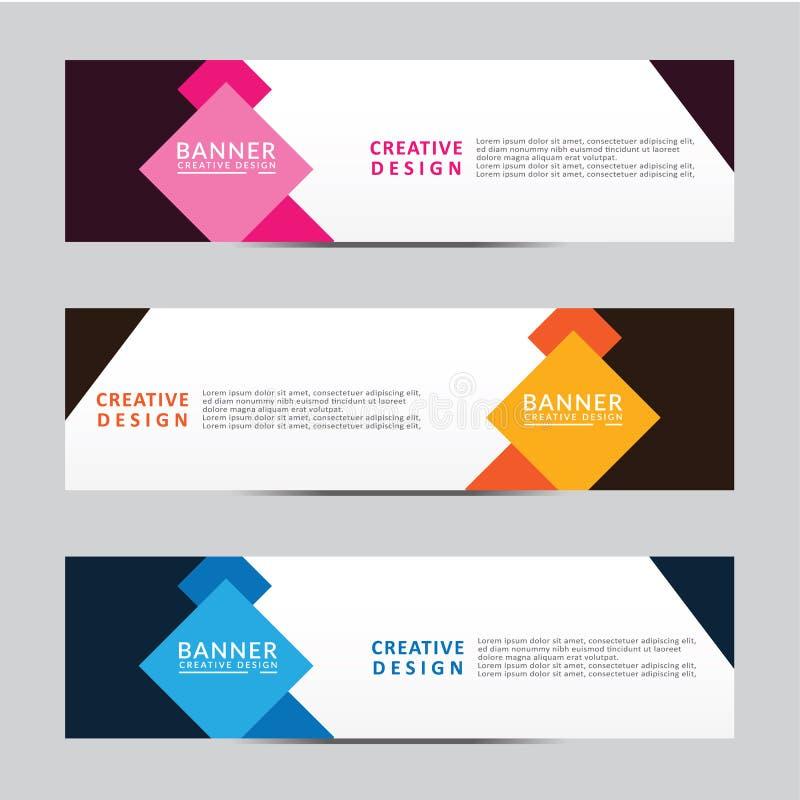 Fahnennetzschablone des geometrischen Designs des Vektors abstrakte Moderne Auslegung lizenzfreie abbildung