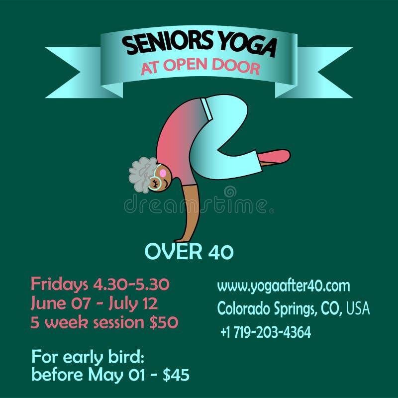 Fahnenplakat für die Ausbildung von Senioryoga stock abbildung
