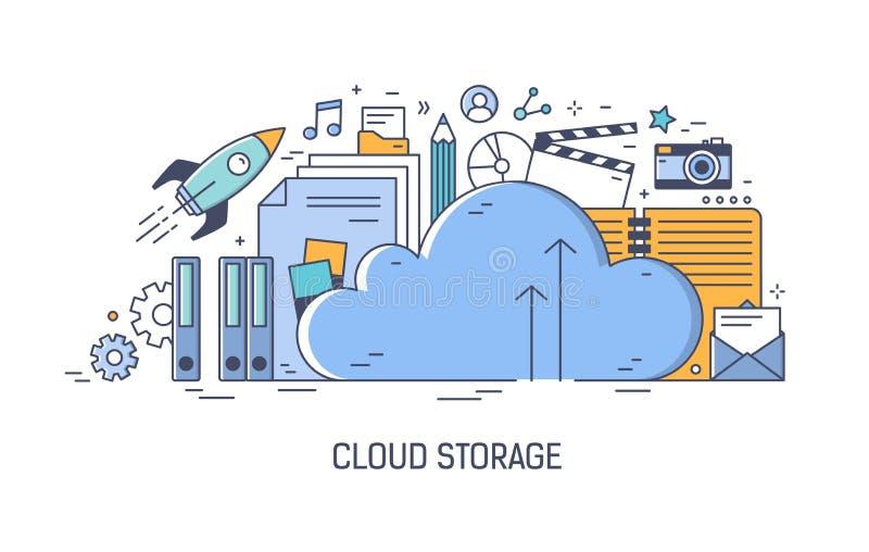 Fahnenschablone für die Werbung der Komputertechnologie der Wolke, Anwendung für Informationsspeicherung, Übertragung digital lizenzfreie abbildung