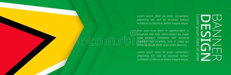 Fahnenschablone mit Flagge von Guyana für Werbungsreise, -geschäft und -anderes stock abbildung