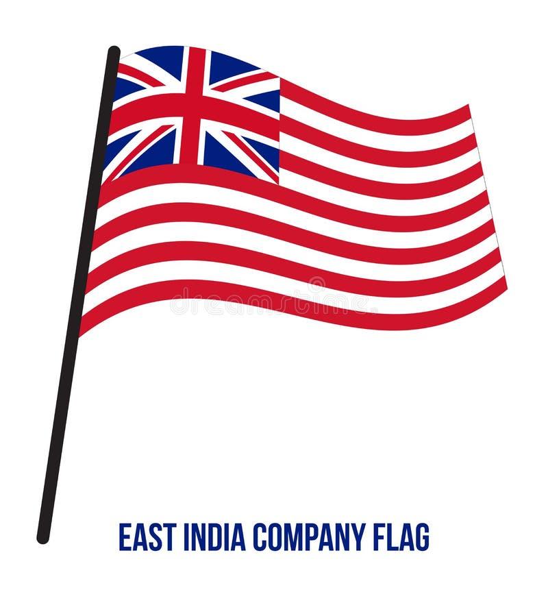 Fahnenschwenkende Vektor-Illustration British East India Company 1733-1833 auf weißem Hintergrund stock abbildung