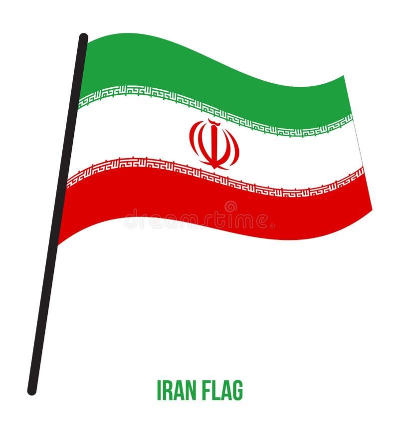 Fahnenschwenkende Vektor-Illustration des Irans auf weißem Hintergrund Der Iran-Staatsflagge lizenzfreie abbildung