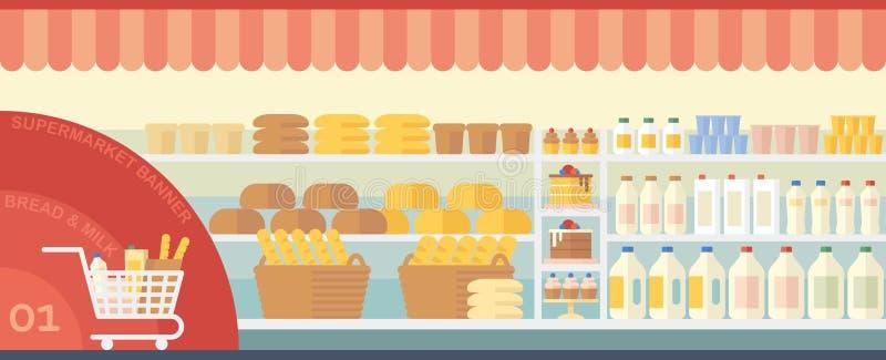 Fahnensupermarkt mit Lebensmittel stock abbildung