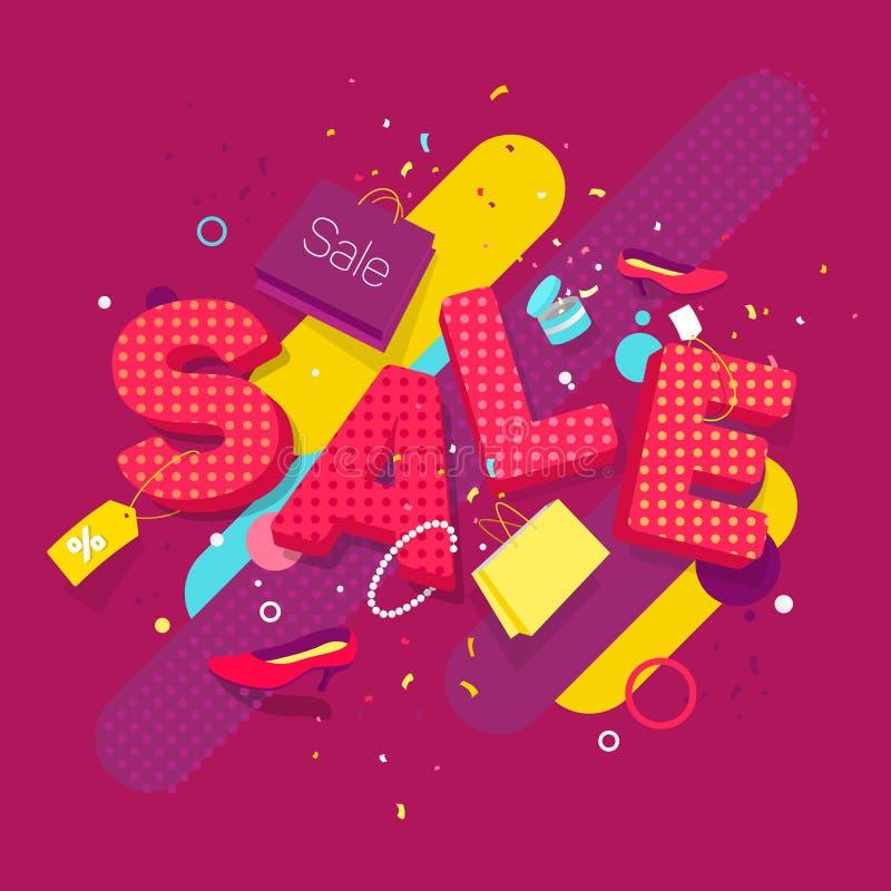 Fahnenverkauf im Stil der Pop-Art und 3D Zerstreute Frauen ` s Sachen auf dem Hintergrund des Wortverkaufs vektor abbildung