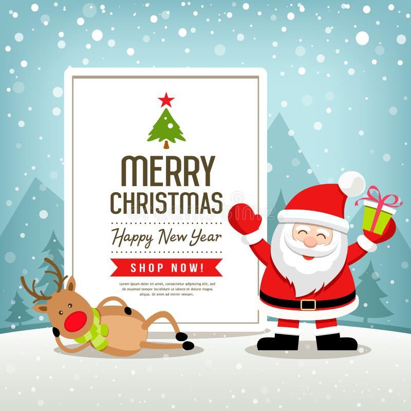 Fahnenverkauf Santa Claus der frohen Weihnachten und Renentwurf vektor abbildung