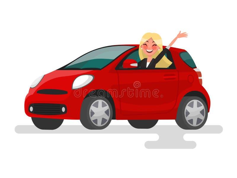 Fahren auf die Maschine Glückliche blonde Frauenfahrten im Auto Vecto lizenzfreie abbildung