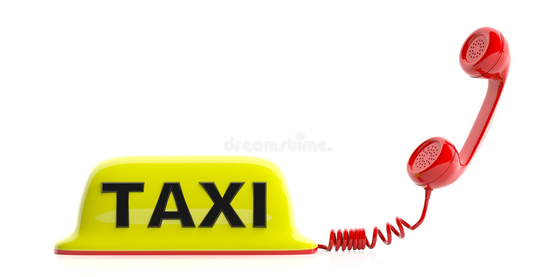 Fahren Sie das Zeichen und Empfänger mit einem Taxi, die auf weißem Hintergrund lokalisiert werden Abbildung 3D lizenzfreie abbildung
