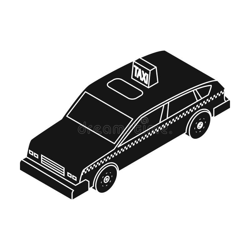 Fahren Sie die Autoikone in der schwarzen Art lokalisiert auf weißem Hintergrund mit einem Taxi Transportsymbol stock abbildung