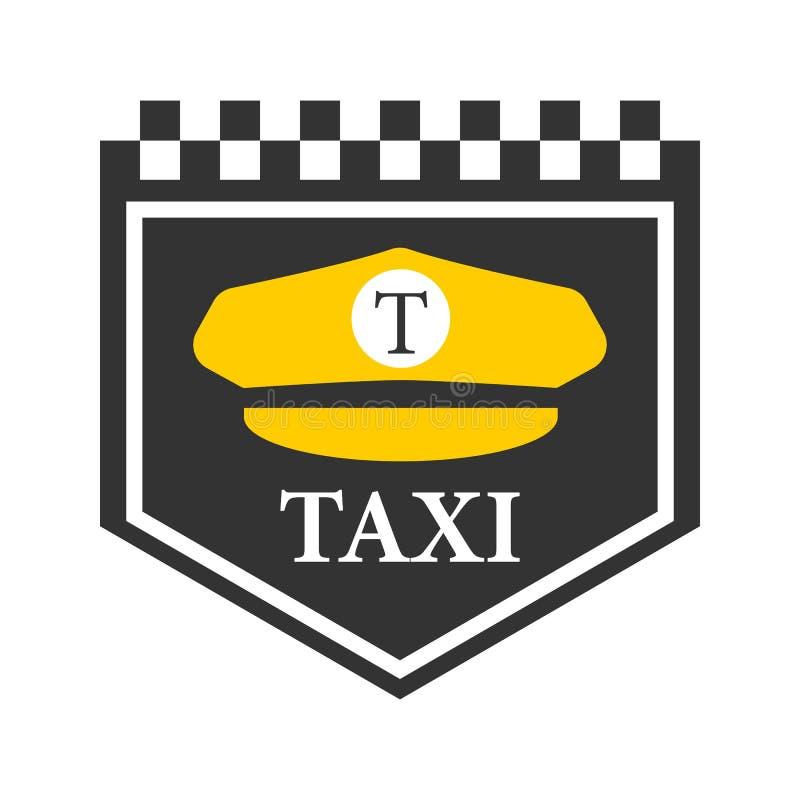 Fahren Sie Logo mit Schwarzweiss-Kontrolleuren, Fahrerkappensymbol mit einem Taxi lizenzfreie abbildung