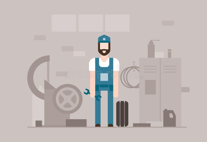 Fahren Sie Mechaniker bei der Arbeit - moderne flache Designartillustration vektor abbildung