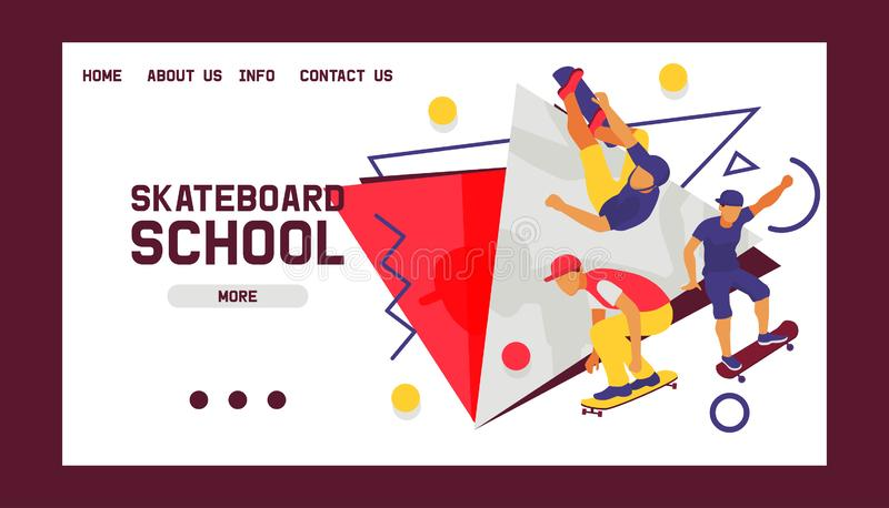 Fahren Sie Schulfahnen-Webdesignkarten-Vektorillustration Skateboard Jugendliche, welche die Tricks, springend auf Rochen reiten  stock abbildung