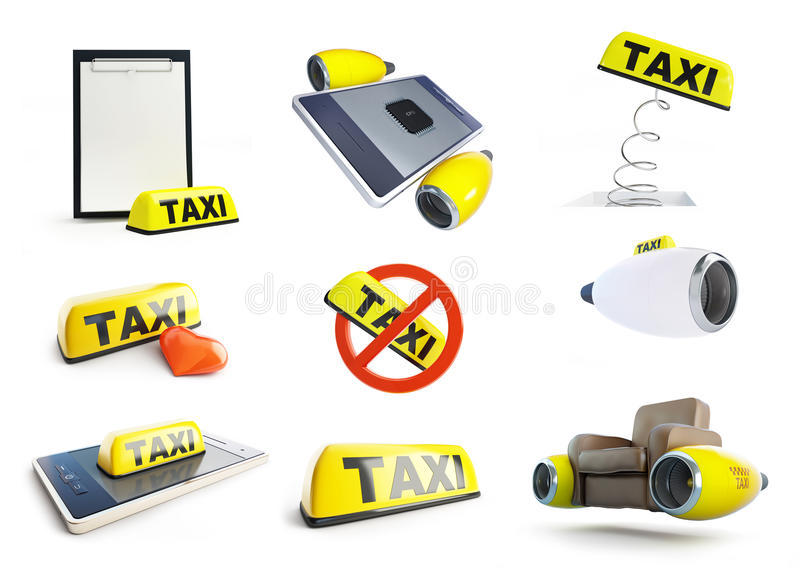 Fahren Sie Zeichentaxifliegen mit einem Taxi, stellen Sie Illustration 3D ein lizenzfreie abbildung