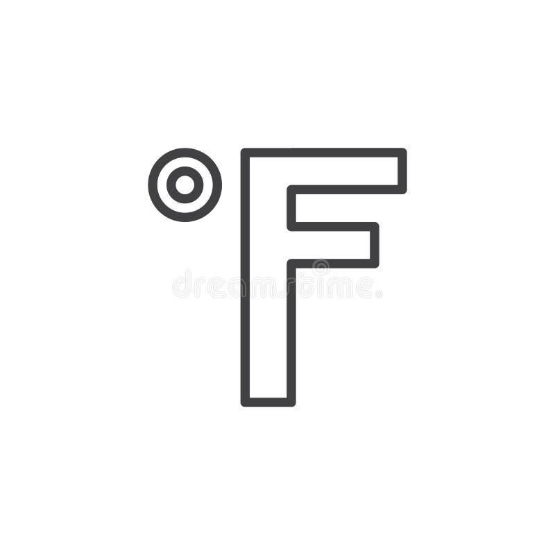 Fahrenheit Degrees Line Icon Stock Vector Illustration Of Pixel
