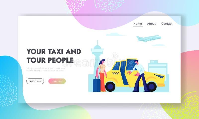 Fahrer Invite Girl Passenger zum Auto auf Flughafen-Hintergrund Frau mit dem Gepäck, das geht, im gelben Fahrerhaus zu sitzen Sta stock abbildung