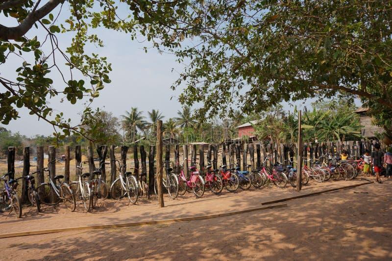 Fahrräder in der Linie stockfoto