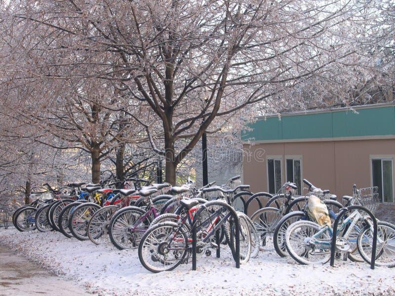 Fahrräder im Schnee stockbilder