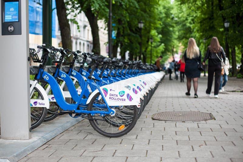 Fahrräder vom norwegischen Fahrrad, das Programm Bysykkel Oslo Norwegen teilt lizenzfreies stockfoto