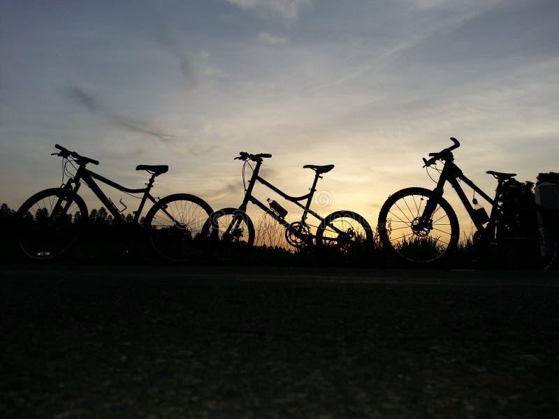 Fahrrad bei dem Sonnenuntergang stockbild