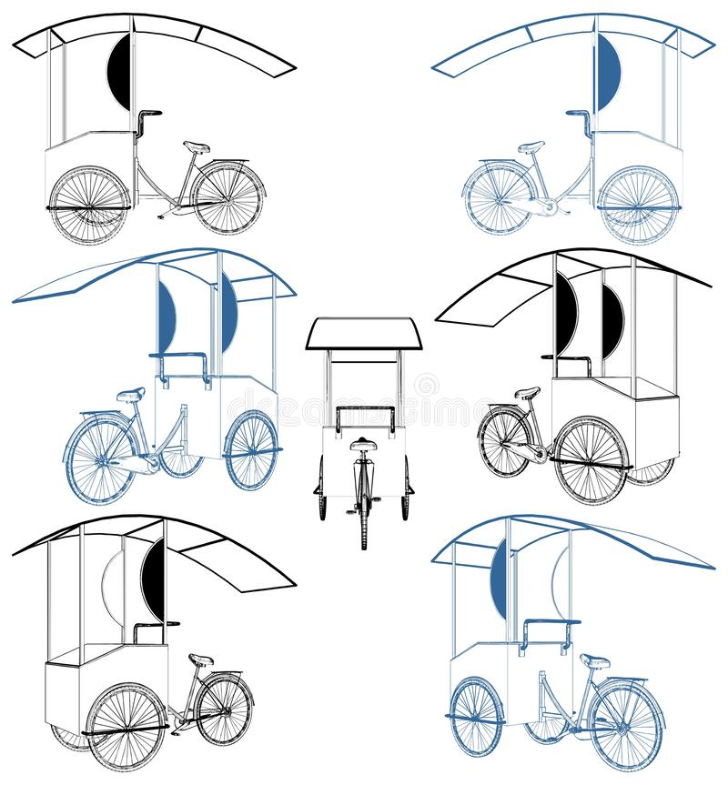 Fahrrad-Eiscreme-Kiosk-Vektor vektor abbildung