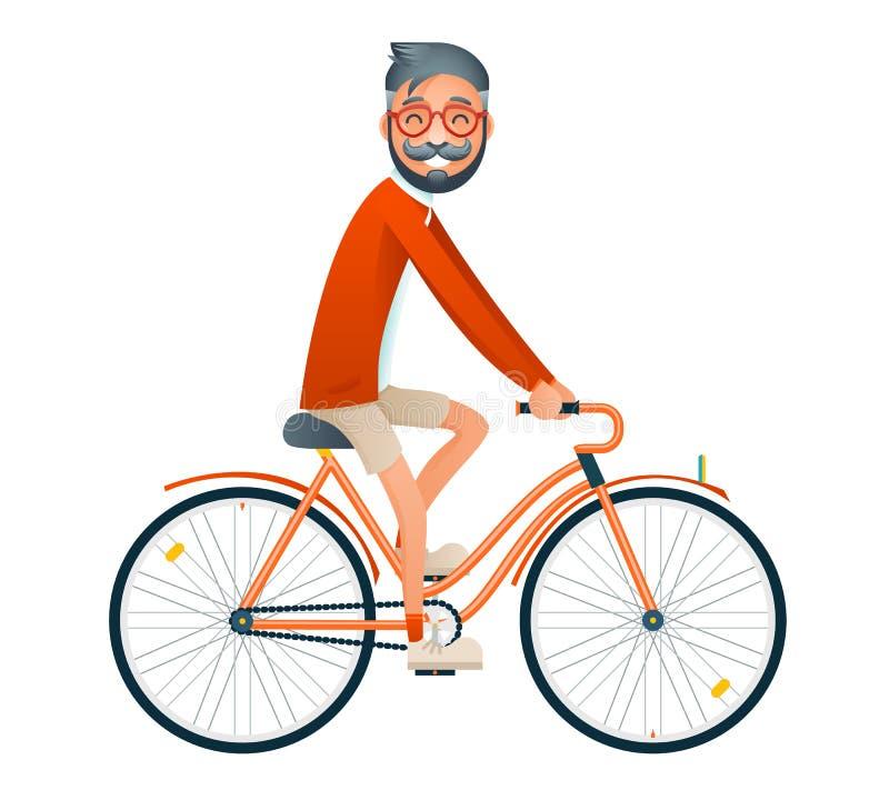 Fahrrad-Fahraussenseiter-Hippie-Reise-Lebensstil-Konzept-Tourismus-Reise-Symbol-Mann-Fahrrad lokalisierter flacher Design-Schablo vektor abbildung