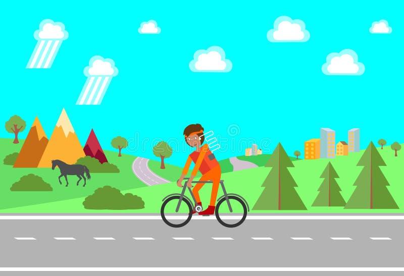 fahrrad Fahrradfahrt Mann, der im Freien ein Fahrrad außerhalb der Stadt reitet Auch im corel abgehobenen Betrag lizenzfreie abbildung