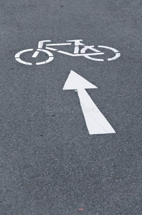 Fahrrad-Fahrradweg-Pfeilsymbol stockbilder