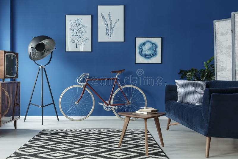 Fahrrad im Wohnzimmer stockfotos