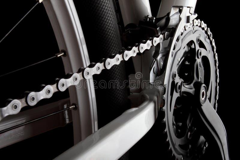 Fahrrad Kurbel, Kette und derailleur lizenzfreie stockfotografie