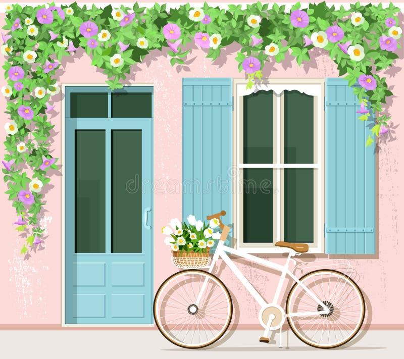 Fahrrad mit Blumen nahe Provence-Arthaus Weinlesegebäudefassade Vektor eingestellt: Tür, Fenster, Fahrrad, Blumen stock abbildung