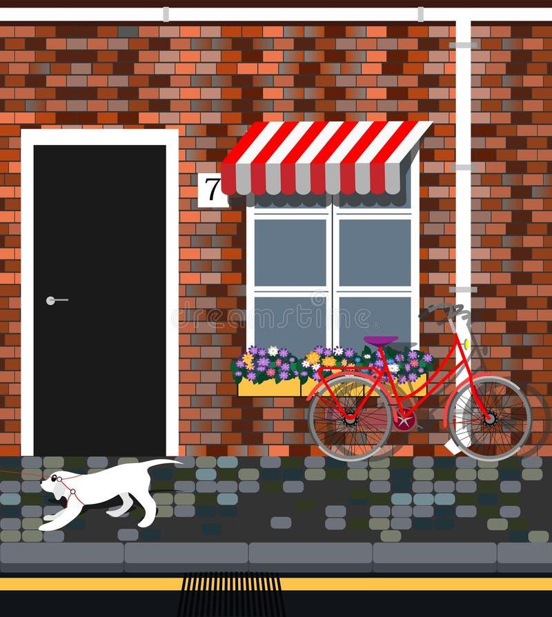 Fahrrad mit Blumen nahe Provence-Arthaus Weinlesegeb?udefassade Hundegehen lizenzfreie abbildung