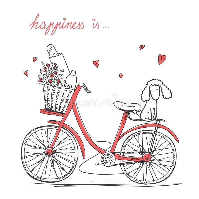 Fahrrad mit Blumen und Hund lizenzfreie abbildung