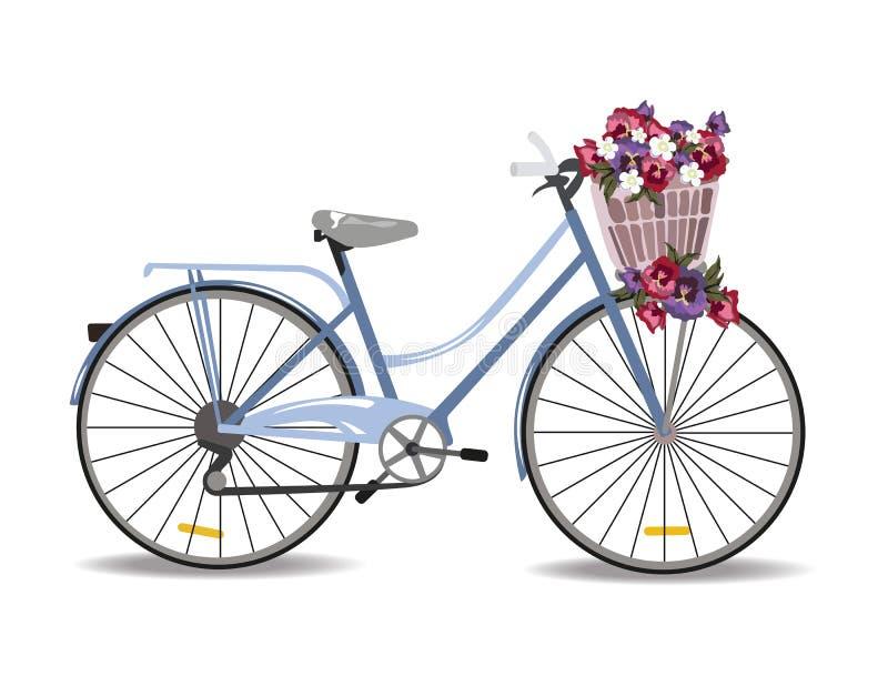 Fahrrad mit den Blumen lokalisiert auf Weiß vektor abbildung